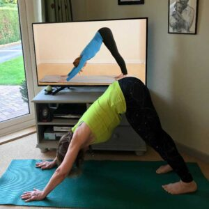Scaravelli Inspired Yoga, Zoom video, home, class, online, laptop, Catherine Annis, home, class