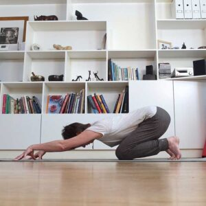 Zoom yoga class, Scaravelli, Catherine Annis yoga, Facebook, home, live stream